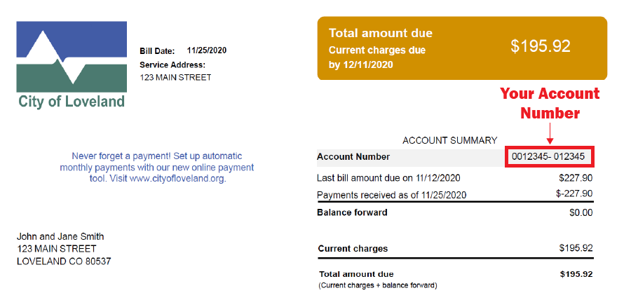 You can find your account number and Meter Number on your bill as shown.